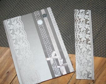 calendar 2017/2018 school and his bookmark silver gray lace shabby