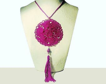 Necklace, fuchsia, Locket, fiber jewelry