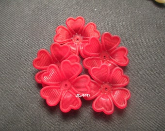 Set of 4 flowers lucites red 43mm