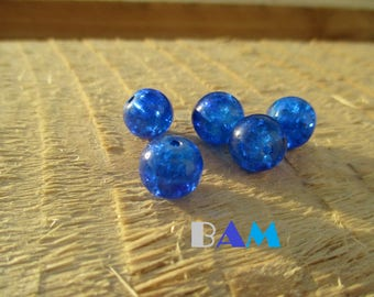 Electric set of 5 10 mm blue crackled glass beads