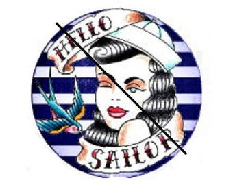 20mm, pinup hello sailor (stripes and swallow)