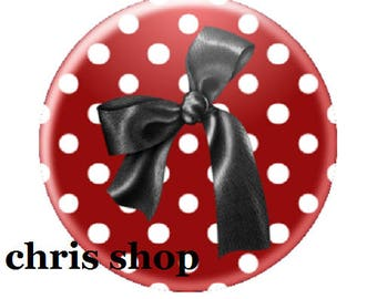 deep red, black bow cabochon 25mm