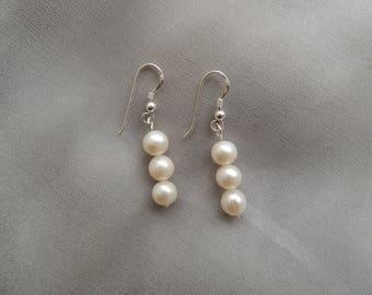 Silver Pearl Earrings freshwater pearls