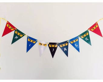 Lego Ninjago Party Birthday Bunting Banner Flags. Supplies Lolly Loot Bag Cake Invitation