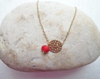 Red Pearl and gold charm necklace