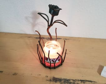 band saw blade rose candle holder