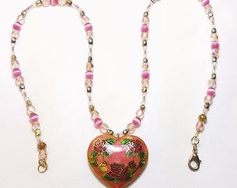Fall in Love Cloisonne Heart Single Strand Necklace