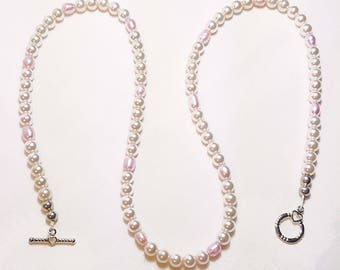 Cream Pink Freshwater Pearl Bridal Wedding Necklace
