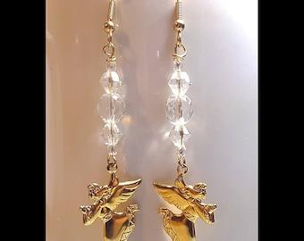 Clear Crystal Gold Angel Charm Dangle Earrings
