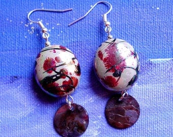 Earrings acrylic beads and mother of Pearl
