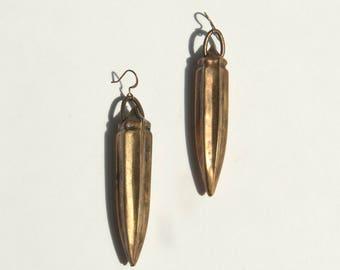 Brass Okra Drop Earrings
