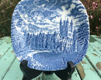 Vintage Enoch Wedgwood Royal Homes of Britain Balmoral Castle  Small Display Plate Turnstall LTD Blue & White