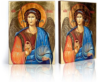 Icon Archangel Michael - handmade religious wood icon, gilded, beautiful gift, 4 sizes to choose.