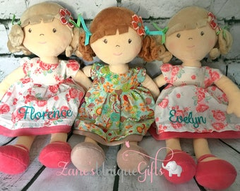 Personalised Rag Doll / Handmade Doll / Baby Doll / Soft Dolls / Doll Bear / Doll for Baby Girls / Doll for Gift / Floral / Fabric Doll
