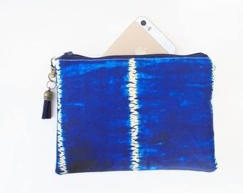 Mum gifts, sewing Pouch, tie dye, shibori, Passport wallet, travel wallet, small zipper bag, wallet pouch.