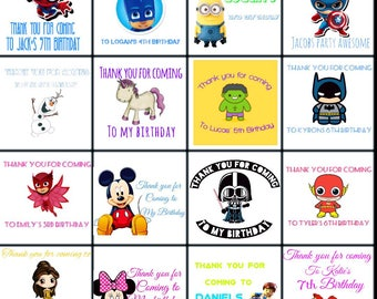 Personalised Thank you birthday stickers. Lots of designs available