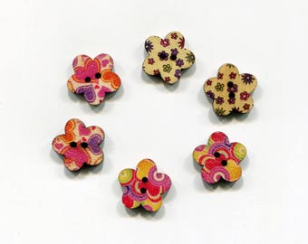 set of 6 flower wood buttons * flowers & hearts * 17 mm