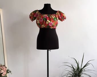 Vintage Resort Holiday Bloomy Top Bright Colors Tropical Flowers