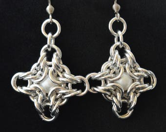 Beaded Diamond Chainmaille Earrings