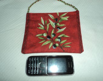 Cotton cell phone pocket red olives to hang on belt pattern