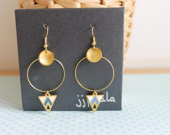 Earrings triangles blue and white gold
