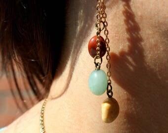 Earrings three gemstones
