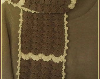 Medium and sand Brown wool crochet scarf