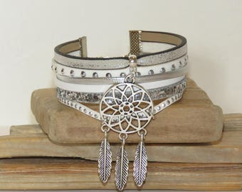 "Cuff Bracelet, multi strand, white, silver, leather, suede, sequins, dream catcher ""DREAMCATCHER"" women bracelet,"
