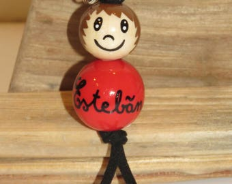 "Keychain made of wood beads or jewelry bag ""smile ball"" fully customizable and hand painted figurine"