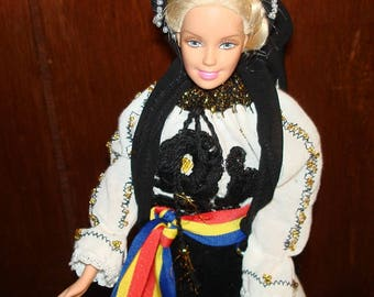 "DOLL 12""  In Romanian Traditional Costume from Transilvania Romania"