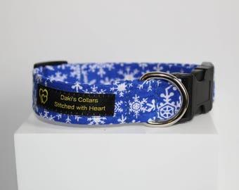 Christmas dog collar, Dog collar with snow flakes