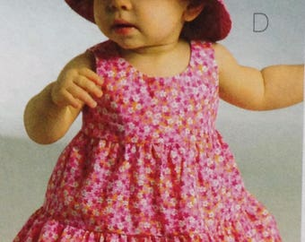 Butterick B5017 Sewing Pattern, Infants Top, Infants Dress, Infants Shorts, Infants Pants, Infant Hat, Size NB-L, OOP