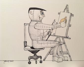 11x14 Original Pop Art Illustration Self-Portrait
