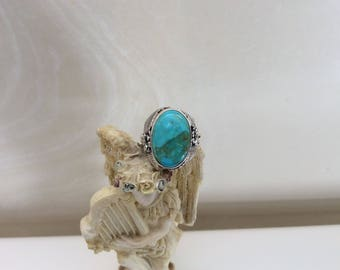 Turquoise flower ring size 8