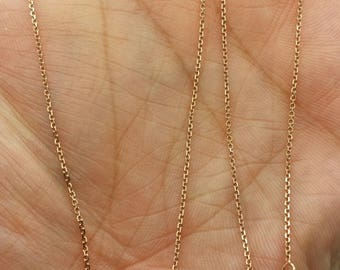 "14k Rose Gold High Polish Cable Link Adjustable Necklace Chain Up to 22"" .9mm"