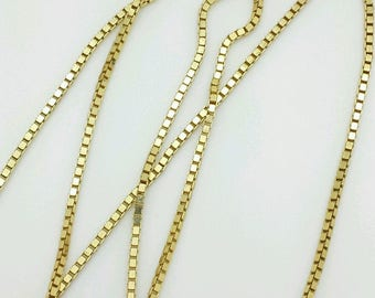 """14k Solid Yellow Gold Box Link Necklace Pendant Charm Chain 16""""-30"""" 1.1mm"""