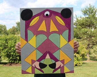 Geometric Alien Acrylic Painting