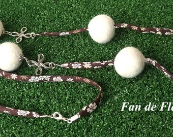 Necklace cord Liberty Brown with Ecru boiled wool beads