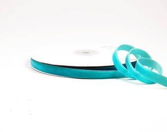 1 meter of turquoise ref 340, 9 mm wide velvet Ribbon