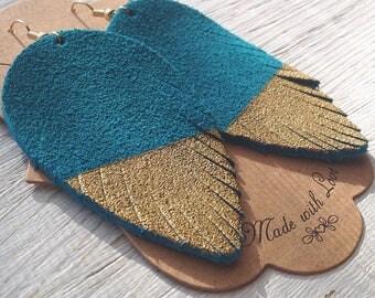 Turquoise Suede Feather Earrings, Suede Earrings, Hand Painted Earrings, Statement Earrings, Boho