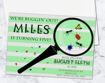 Bugs Birthday Invitation, 5x7, Gender Neutral, Digital Download