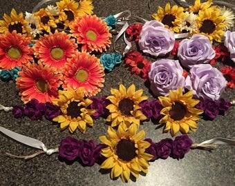 2 Pack Matching Flower Headband Set