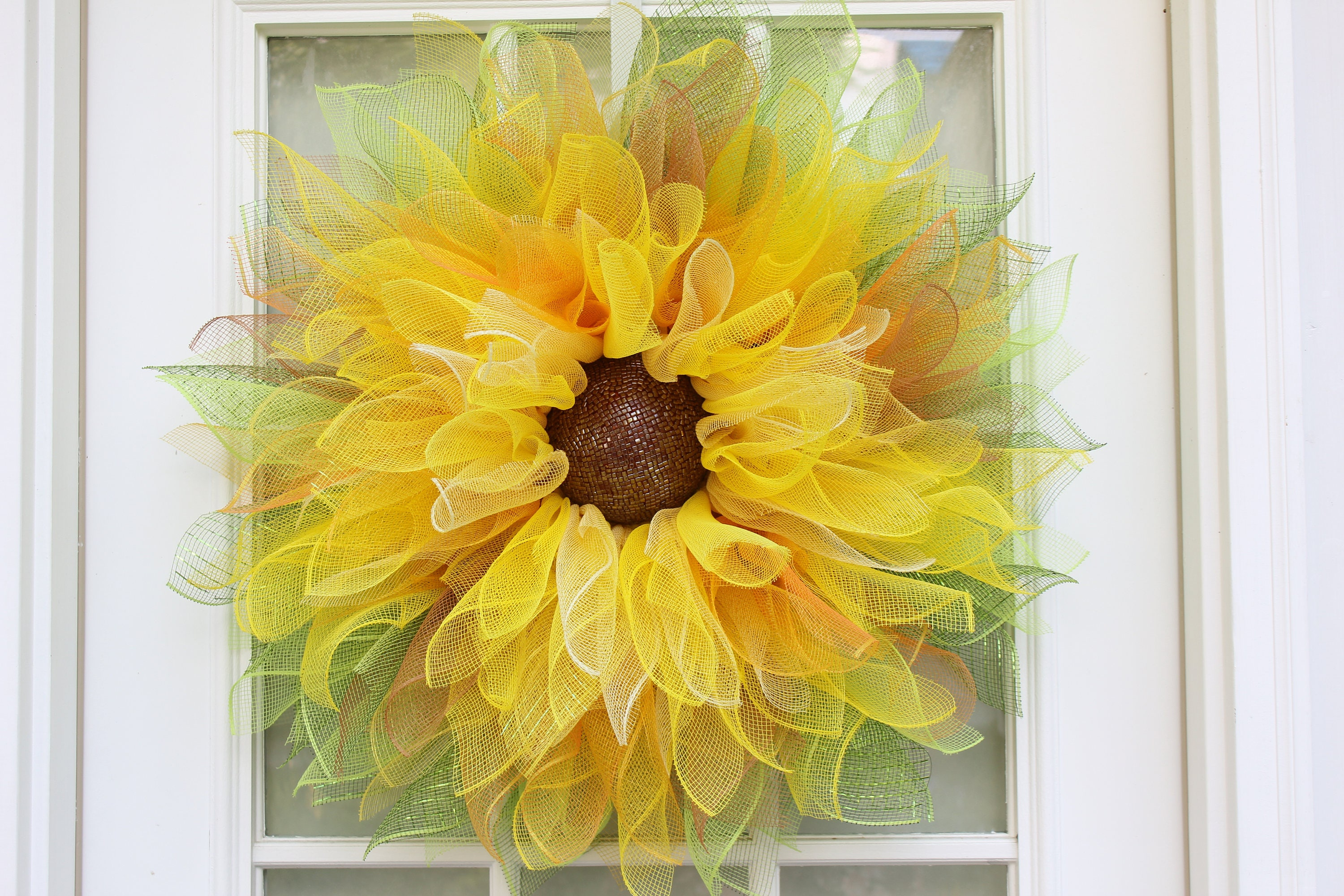 Yellow Sunflower Wreath, Deco Mesh Flower wreaths, Dahlia Flower ...