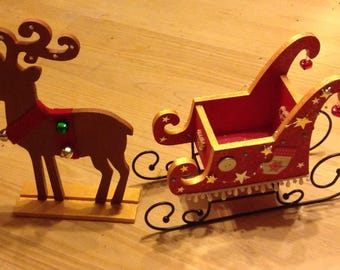Super Santa sleigh and his reindeer - decoration wood to hold chocolates and other...