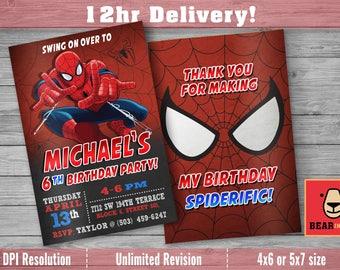 Spiderman Invitation with FREE Thank you Card! Spiderman Invite, Spiderman Party, Spiderman Birthday, Spiderman Printable, Spiderman Digital
