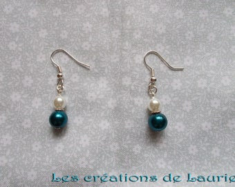Glass beads, white and turquoise earrings