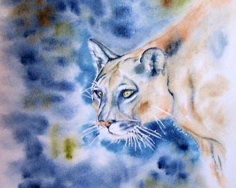 Watercolor, puma, indigo blue