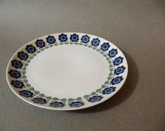 Vintage Upsala Ekeby Karlskrona dessert plate, blue flower pattern