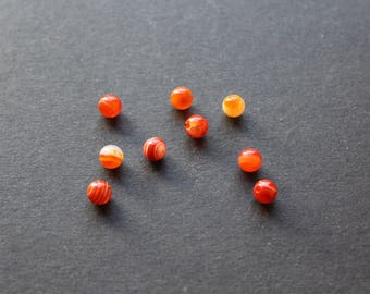 "Pearl orange/red natural stone ""Agate"" / original translucent white"