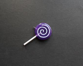 Sweet lollipop purple resin pendant